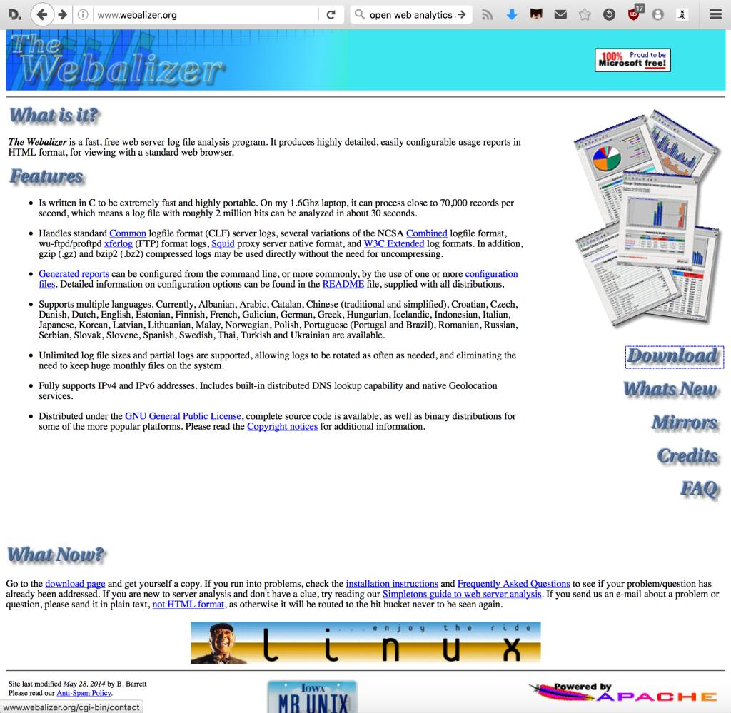 L'homepage di Webalizer