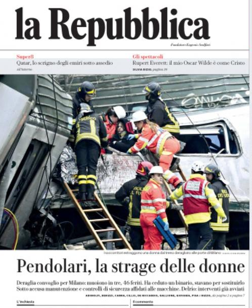 la prima pagina de La Repubblica del 26 gennaio 2018
