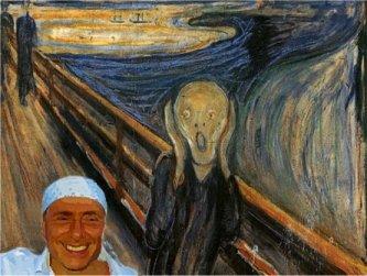 un fotomontaggio:L'Urlo sembra gridare perchè vede Berlusconi con la bandana